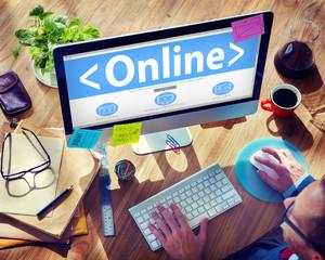 Businessman Online Internet Computer Working Concept