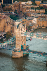 Aerial view of Tower Bridge and London skyline
