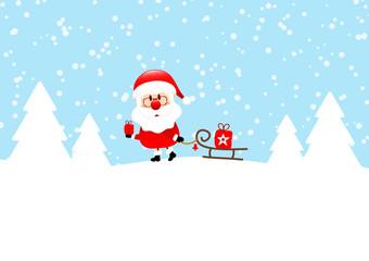 Card Santa Gift Pulling Sleigh Snow Blue