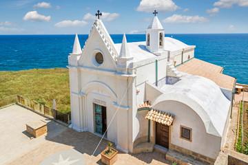 White church at Capo Colonna, Calabria, Itlay
