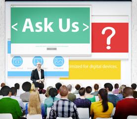 Digital Online Business Feedback Ask Us Concept