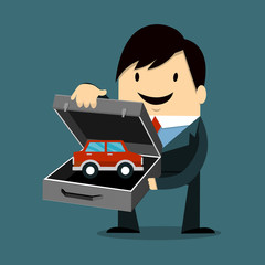 Businessman Holding bag and model Car