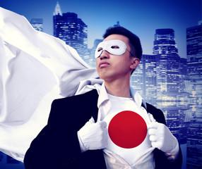 Superhero Businessman Japanese Cityscape Concept