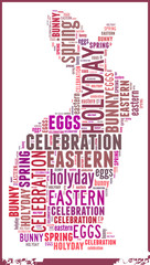 Rabbit in Eastern Holiday Word Cloud Concept