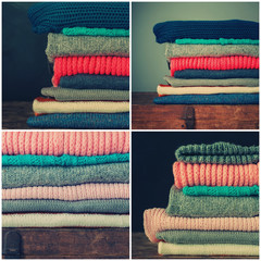 Collage from Knitted Color Clothes in stack, toned
