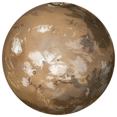 Planet Mars on white background