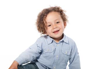 Cute Smiling Young Boy in Long Sleeve T-Shirt