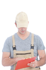 White Service Man Holding Red Clip Board