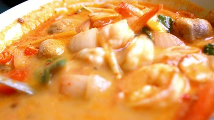 Thai soup, Shrimp And Mixed Vegetable in orange Spicy tamarind