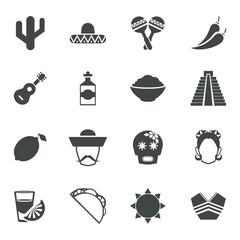 Mexico black icons set
