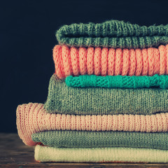 Knitted Sweet Color Sweaters in stack, toned