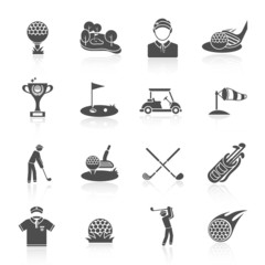Golf icons set black