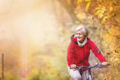 canvas print picture Active senior woman ridding bike