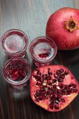 Pomegranate vodka shots.