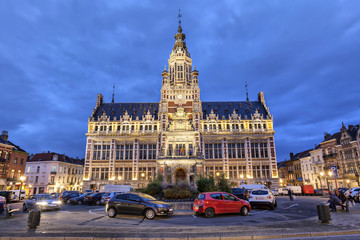 Town hall of Shaerbeek in the evening, Brussels