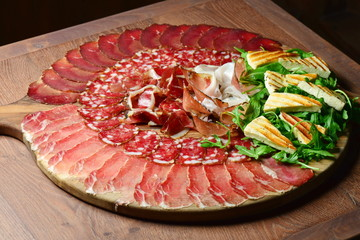 Arrangement of Delicatessen Cold Cuts with Smoked Ham, Cheese