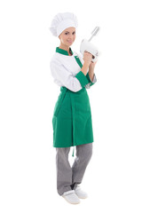 young attractive chef woman with mixer - full length isolated on