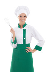 happy woman in chef uniform with corolla isolated on white