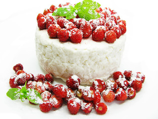 dairy pudding dessert with wild strawberry berries
