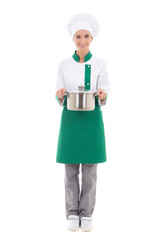 young woman in chef uniform holding saucepan - full length isola