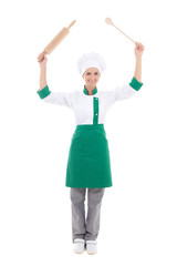 happy woman in chef uniform with wooden baking rolling pin and s