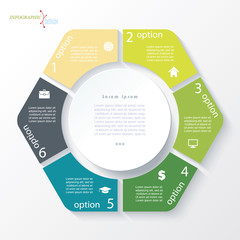 Business concept design with circle and 6 segments. Infographic