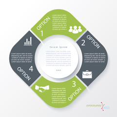 Business concept design with 4 segments. Infographic template