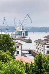 ship in the port of Ferrol, Galicia, Spain