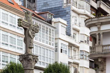 typical Galician stone cross in a square in Ferrol
