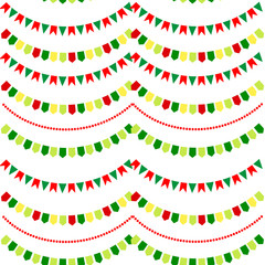 seamless pattern of festive garland flags