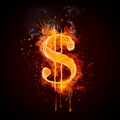 Dollar in Fire