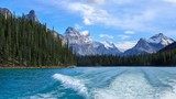 Track from a boat on the Maligne lake, Alberta, Canada poster