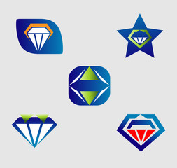 Diamond logo vector icons set