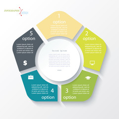 Business concept design with circle and 5 segments. Infographic