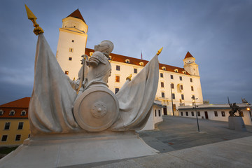 Statue on the gate in front of Bratislava castle.