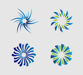 Spiral circular logo element set