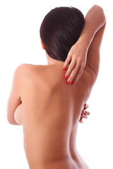 naked woman girl holding her back with hands
