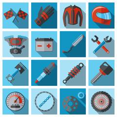 Motorcycle parts flat set