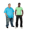 African man with perfect body together with a nice fat man