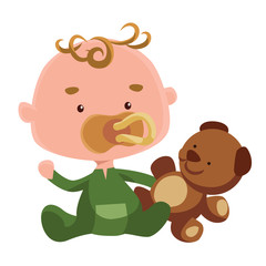 Cute baby with teddy bear and pacifier