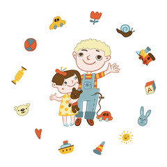 Мальчик и девочка  и их игрушки
