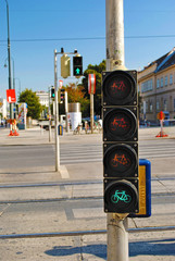 Traffic light for cyclists and pedestrians on the road