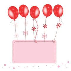 Red flying ballons with confetti space for text greeting card