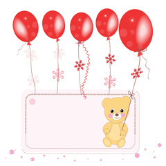 Red flying ballons with teddy bear space for text greeting card