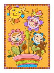 дети-цветы растут в цветочном горшке.