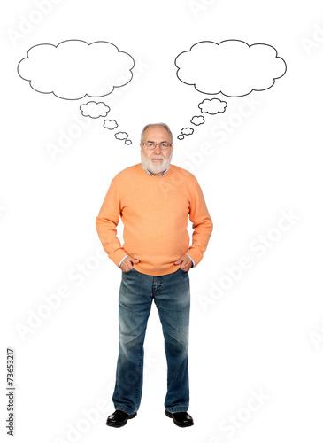 canvas print picture Senior man thinking