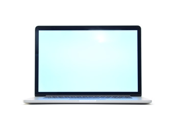 Laptop isolated on white background with empty screen