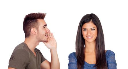 Boyfriend talking a secret his girlfriend
