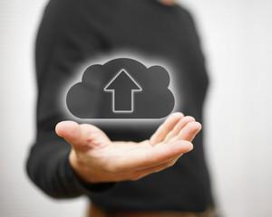 concept of safe cloud data storage or uploading you files