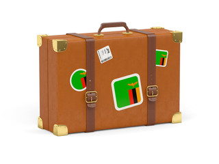 Suitcase with flag of zambia